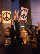 Protesters call for peace.